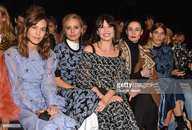 Alexa Chung Laura Bailey Daisy Lowe Erin O'Connor and Veronika Heilbrunner attend the Erdem catwalk show during London Fashion Week at The Old...