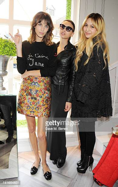 Alexa Chung Leah Weller and Zara Martin attend the Bicester Village British Designers Collective launch hosted by Alexa Chung on March 21 2012 in...