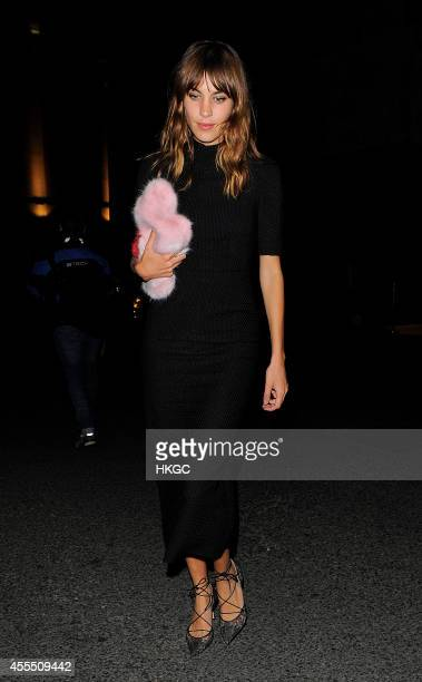 Alexa Chung leaves Lou Lou's Member's club after AnOther's Magazine party on September 15 2014 in London England