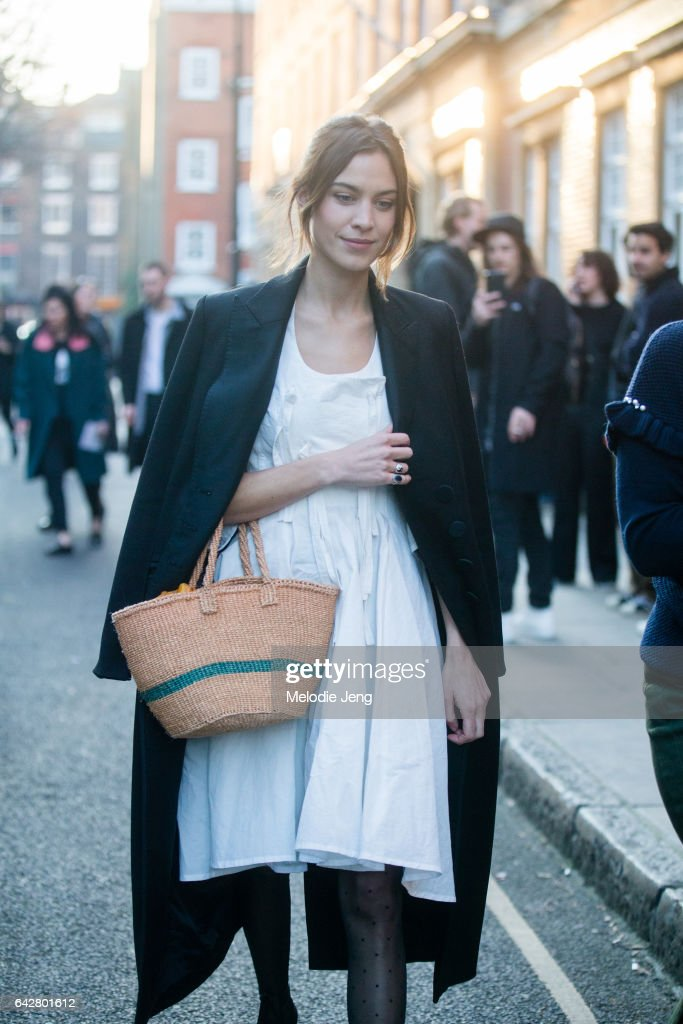 Alexa Chung on day 2 of the London Fashion Week February 2017 collections on February 18, 2017 in London, England.