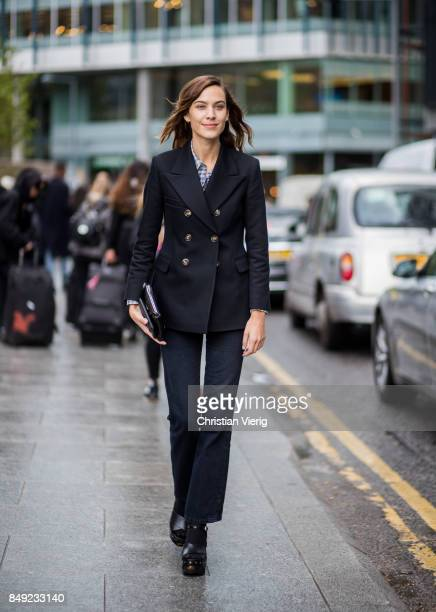 Alexa Chung outside Christopher Kane during London Fashion Week September 2017 on September 18 2017 in London England