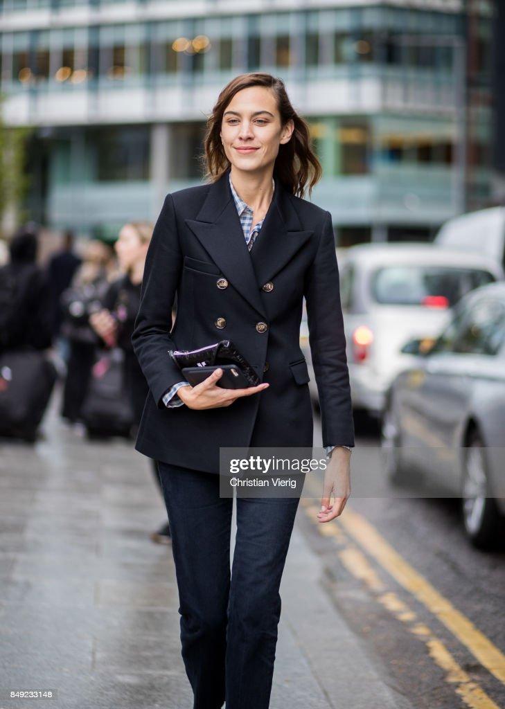 Alexa Chung outside Christopher Kane during London Fashion Week September 2017 on September 18, 2017 in London, England.
