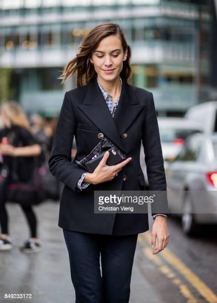 Alexa Chung outside Christopher Kane during London Fashion Week September 2017 on September 18 2017 in London England