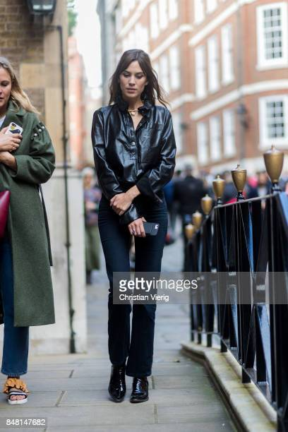Alexa Chung outside Simone Rocha during London Fashion Week September 2017 on September 16 2017 in London England