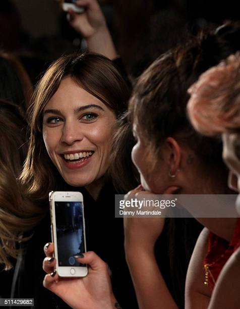 Alexa Chung Pixie Geldof and Nick Grimshaw attends the House of Holland show during London Fashion Week Autumn/Winter 2016/17 at on February 20 2016...