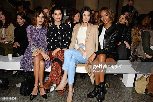 Alexa Chung, Pixie Geldof, Kendall Jenner and Joudan Dunn attend the Topshop Unique show during London Fashion Week Fall/Winter 2015/16 at Tate...