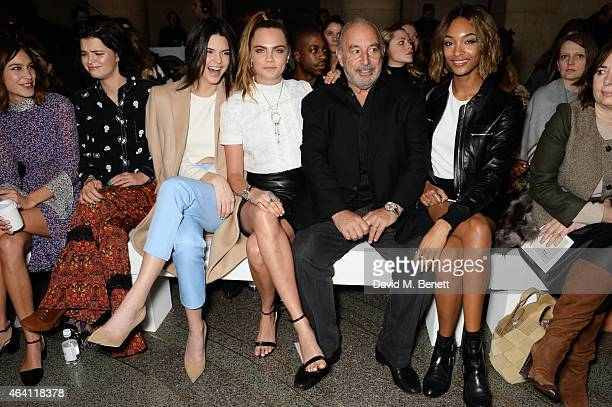 Alexa Chung Pixie Geldof Kendall Jenner Cara Delevingne Sir Philip Green Jourdan Dunn and Alexandra Shulman attend the Topshop Unique show during...