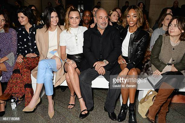 Alexa Chung, Pixie Geldof, Kendall Jenner, Cara Delevingne, Sir Philip Green, Jourdan Dunn and Alexandra Shulman attend the Topshop Unique show...