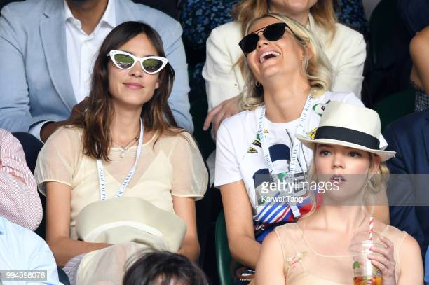 Alexa Chung Poppy Delevingne and Anya TaylorJoy attend day seven of the Wimbledon Tennis Championships at the All England Lawn Tennis and Croquet...