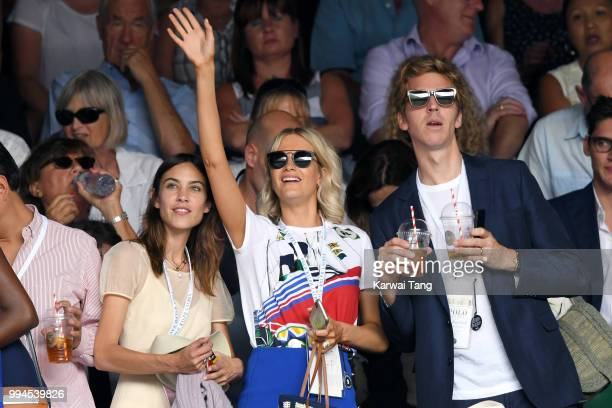 Alexa Chung Poppy Delevingne and her husband James Cook attend day seven of the Wimbledon Tennis Championships at the All England Lawn Tennis and...