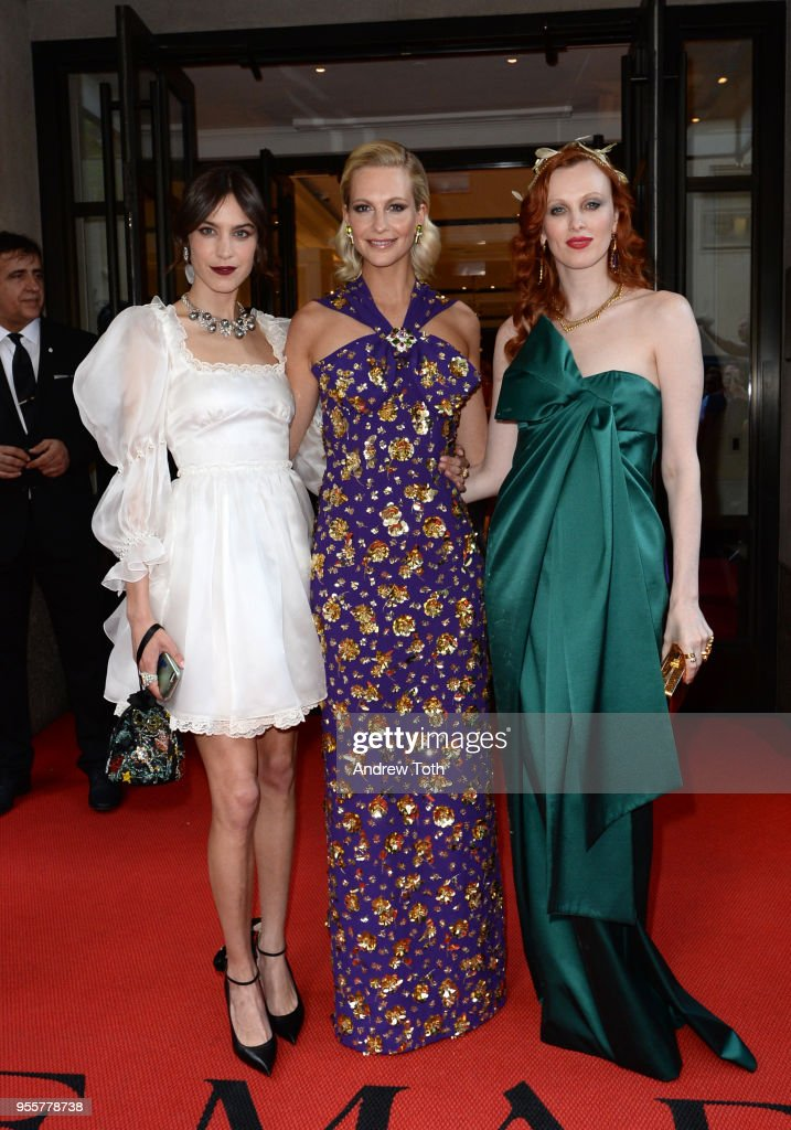 Alexa Chung, Poppy Delevingne and Karen Elson attend as The Mark Hotel celebrates the 2018 Met Gala at The Mark Hotel on May 7, 2018 in New York City.