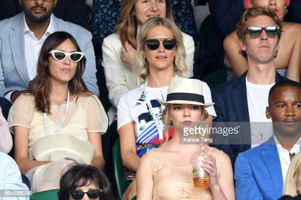 Alexa Chung Poppy Delevingne her husband James Cook and Anya TaylorJoy attend day seven of the Wimbledon Tennis Championships at the All England Lawn...