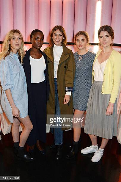 Alexa Chung poses with models at a party hosted by Marks and Spencer The British Fashion Council and Alexa Chung to kick off London Fashion Week and...