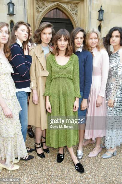 Alexa Chung poses with models at the ALEXACHUNG London Launch Summer 17 Collection Reveal at the Danish Church of Saint Katharine on May 30 2017 in...