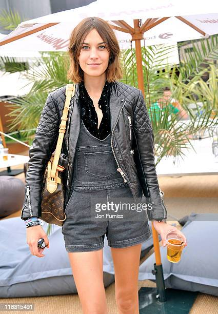Alexa Chung posing at Barclaycard Unwind VIP Pod during Wireless Festival 2011 at Hyde Park on July 3 2011 in London England