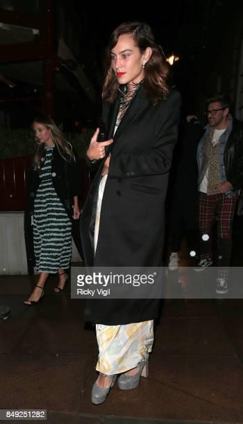 Alexa Chung seen at Miu Miu X LOVE Magazine party at No 5 Hertford Street during London Fashion Week September 2017 on September 18 2017 in London...