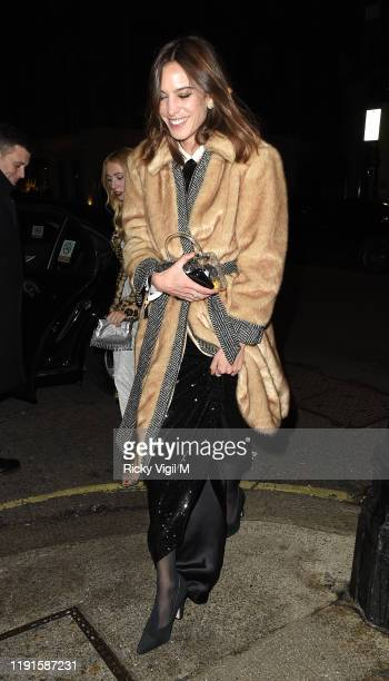 Alexa Chung seen attending Giorgio Armani - Fashion Awards afterparty at Harry's Bar on December 02, 2019 in London, England.