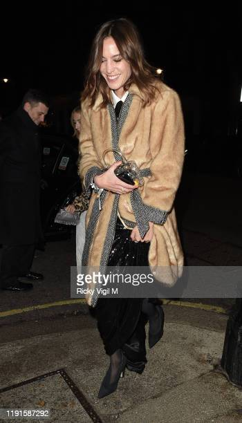 Alexa Chung seen attending Giorgio Armani Fashion Awards afterparty at Harry's Bar on December 02 2019 in London England