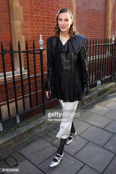 Alexa Chung seen attending the JW Anderson show at Yeomanry House during LFW February 2018 on February 17 2018 in London England