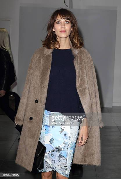 Alexa Chung seen front row at the Christopher Kane Autumn/Winter 2012 show at London Fashion Week at One New Change on February 20 2012 in London...