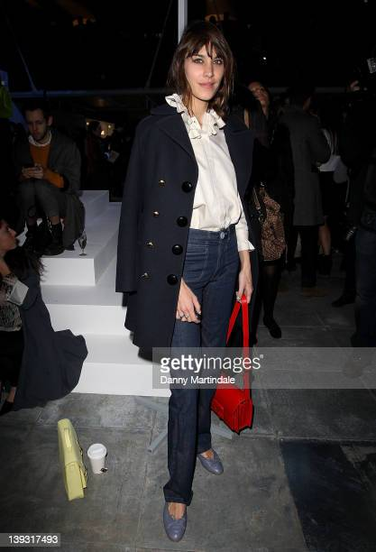 Alexa Chung seen front row at the Unique Autumn/Winter 2012 show at London Fashion Week at TS Venue on February 19 2012 in London England