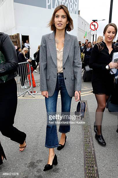 Alexa Chung seen leaving the Kings Cross Theatre after attending the attending the Erdem S/S16 catwalk show on September 21 2015 in London England...