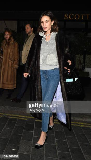 Alexa Chung seen on a night out leaving Scott's restaurant in Mayfair on January 14 2019 in London England