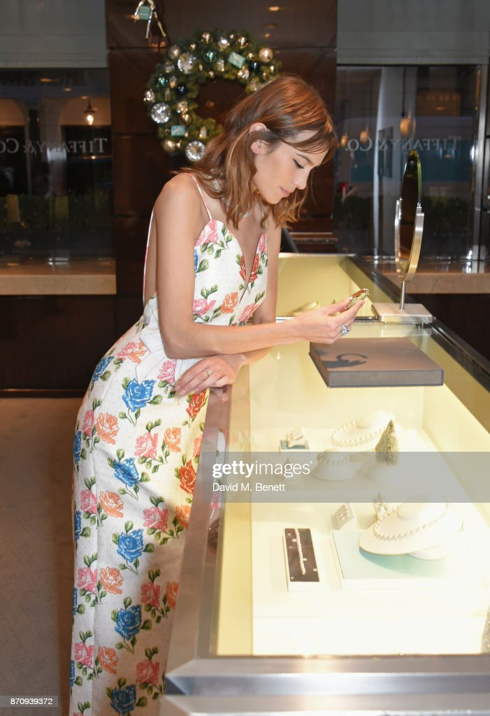 Alexa Chung sparkles inside the Tiffany & Co. Old Bond Street Store as she unveils the Tiffany Christmas windows at Tiffany & Co on November 6, 2017 in London, England.