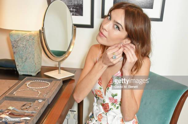 Alexa Chung sparkles inside the Tiffany Co Old Bond Street Store as she unveils the Tiffany Christmas windows at Tiffany Co on November 6 2017 in...