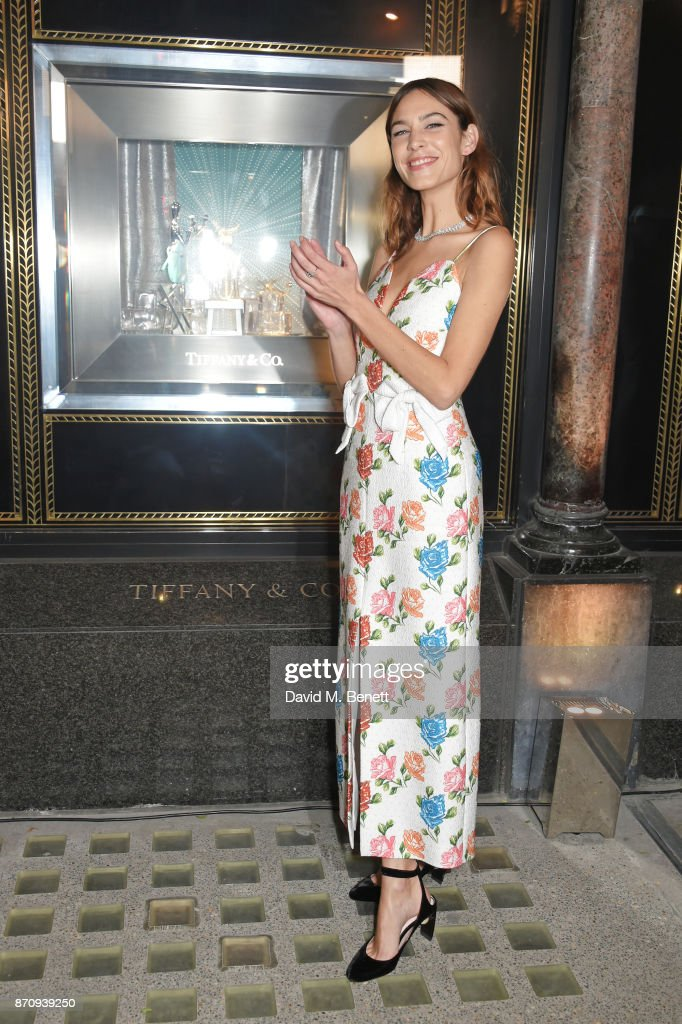 Alexa Chung sparkles outside the Tiffany & Co. Old Bond Street Store as she unveils the Tiffany Christmas windows at Tiffany & Co on November 6, 2017 in London, England.