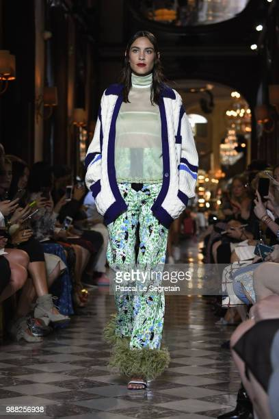 Alexa Chung walks the runway during Miu Miu 2019 Cruise Collection Show at Hotel Regina on June 30 2018 in Paris France