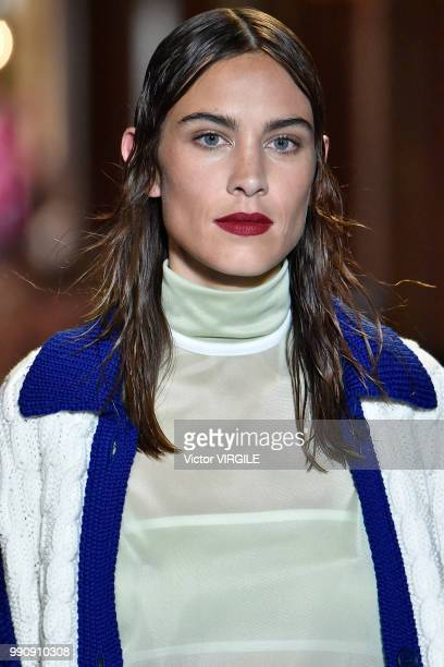 Alexa Chung walks the runway during the finale of the Miu Miu 2019 Cruise Collection Show at Hotel Regina on June 30 2018 in Paris France