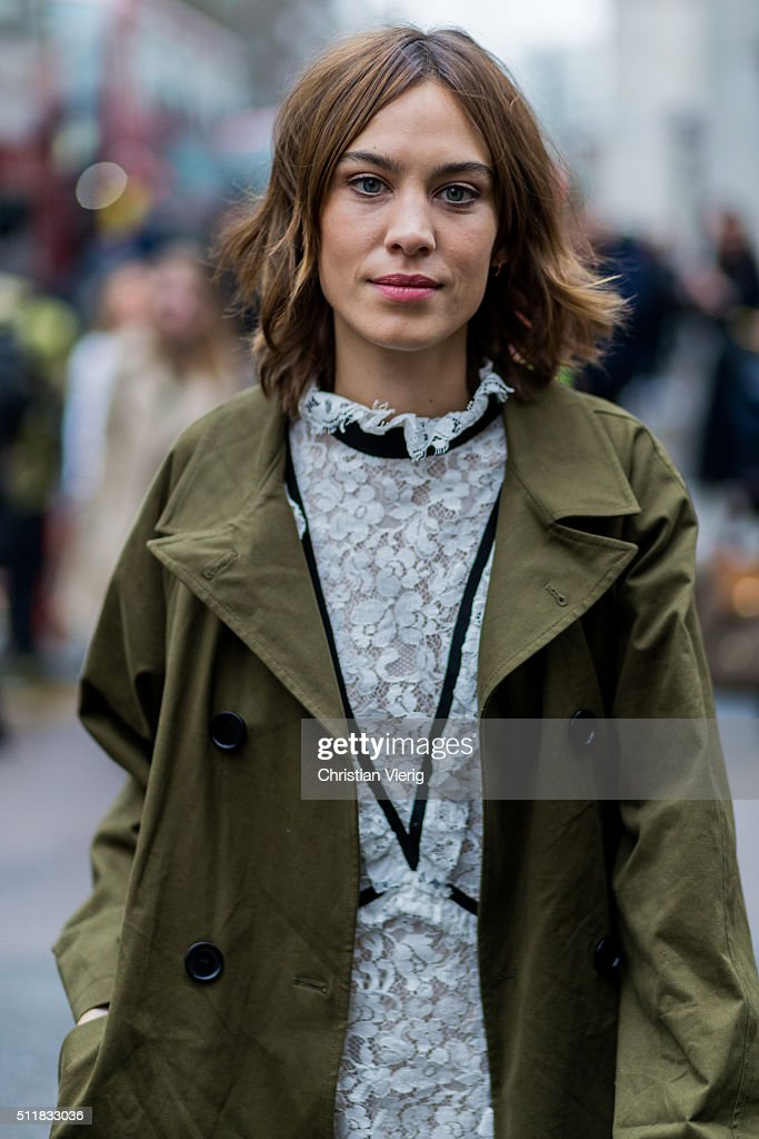 Alexa Chung wearing an olive trench coat seen outside Erdem during London Fashion Week Autumn/Winter 2016/17 on February 22, 2016 in London, England, United Kingdom.