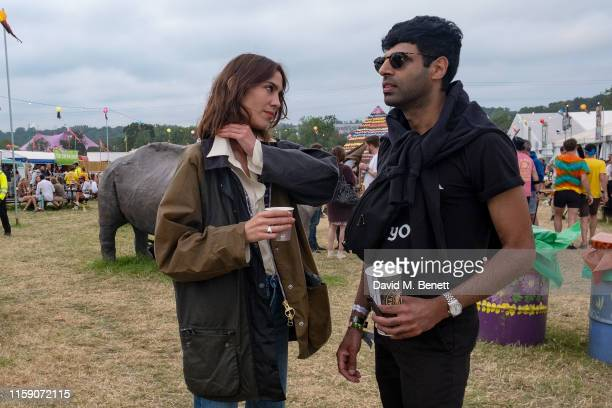 Alexa Chung wearing Barbour by ALEXACHUNG on day two of the Glastonbury Festival on June 29 2019 in Glastonbury England