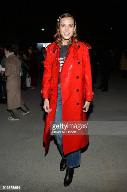 Alexa Chung wearing Burberry at the Burberry February 2018 show during London Fashion Week at Dimco Buildings on February 17 2018 in London England