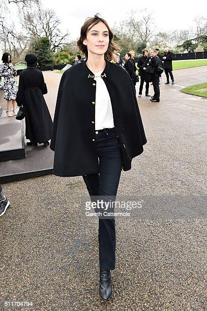 Alexa Chung wearing Burberry at the Burberry Womenswear February 2016 Show at Kensington Gardens on February 22 2016 in London England