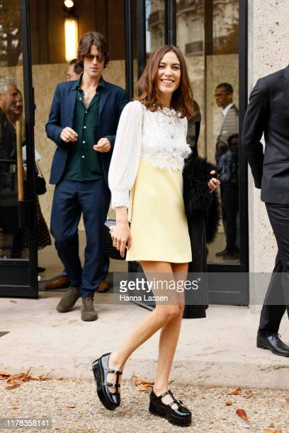 Alexa Chung wearing Miu Miu outside Miu Miu during Paris Fashion Week Womenswear Spring Summer 2020 on October 01, 2019 in Paris, France.