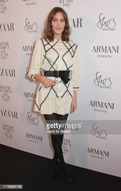 Alexa Chung, winner of the Breakthrough Designer Award, attends the Harper's Bazaar Women of the Year Awards 2019, in partnership with Armani Beauty,...