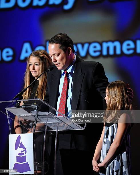 Alexa Darin Dodd Darin and Olivia Darin accept the Lifetime Achievement Award on behalf of the late Bobby Darin at the Special Merit Awards and...