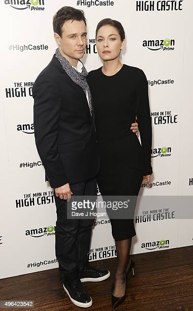 Alexa Davalos and Rupert Evans attend the European Premiere of the second episode of 'The Man In The High Castle' at The Soho Hotel on November 9...