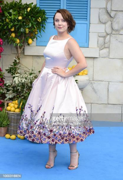 Alexa Davies poses on the red carpet upon arrival for the world premiere of the film 'Mamma Mia Here We Go Again' in London on July 16 2018