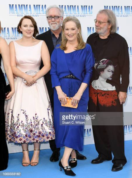 Alexa Davies producer Gary Goetzman Meryl Streep and executive producer Benny Andersson attend the 'Mamma Mia Here We Go Again' world premiere at the...