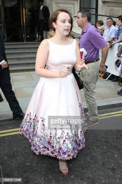 Alexa Davies seen leaving a hotel ahead of the Mamma Mia 2 Premiere on July 16 2018 in London England