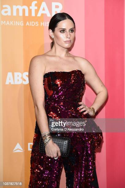 Alexa Dell walks the red carpet ahead of amfAR Gala at La Permanente on September 22 2018 in Milan Italy