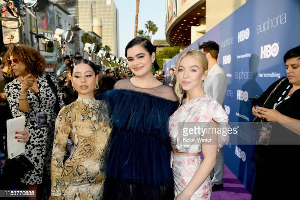 Alexa Demie Barbie Ferreira and Sydney Sweeney attend the LA Premiere of HBO's Euphoria at The Cinerama Dome on June 04 2019 in Los Angeles California