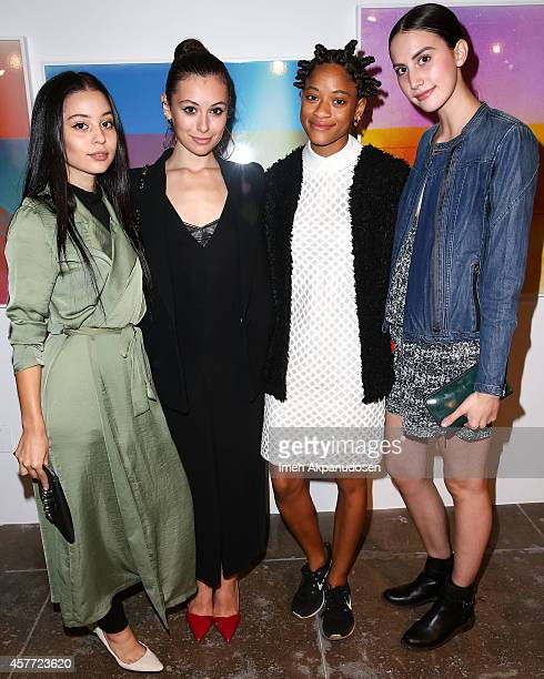 Alexa Demie Marta Pozzan Kilo Kish and Mallory Llewellyn attend the Birchbox DrJart media dinner at Mark Moore Gallery on October 22 2014 in Culver...