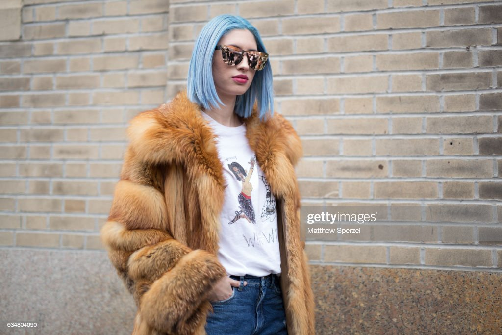 Alexa Escobar is seen attending Creatures of the Wind during New York Fashion Week wearing a fur coat with ripped jeans on February 11, 2017 in New York City.