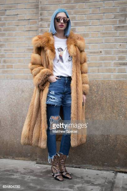 Alexa Escobar is seen attending Creatures of the Wind during New York Fashion Week wearing a fur coat with ripped jeans on February 11 2017 in New...