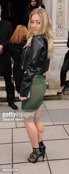 Alexa Goddard arrives at the Julien Macdonald show during London Fashion Week Fall/Winter 2015/16 at British Foreign and Commonwealth Office on...
