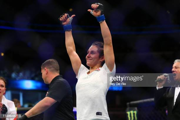Alexa Grasso celebrates her victory over Karolina Kowalkiewicz at United Center on June 8 2019 in Chicago Illinois